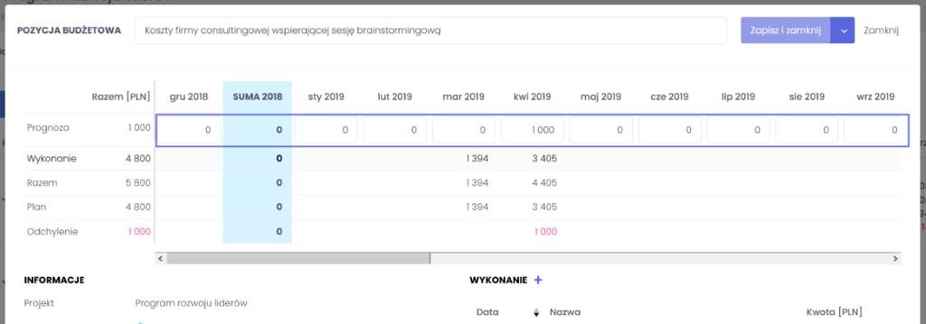 Dodawanie prognozy do budżetu - zarządzanie budżetem projektowym we FlexiProject - blog o zarządzaniu