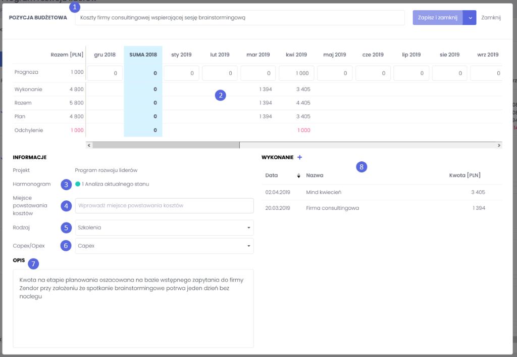 Modal pozycji budżetowej - zarządzanie budżetem projektowym we FlexiProject - blog o zarządzaniu