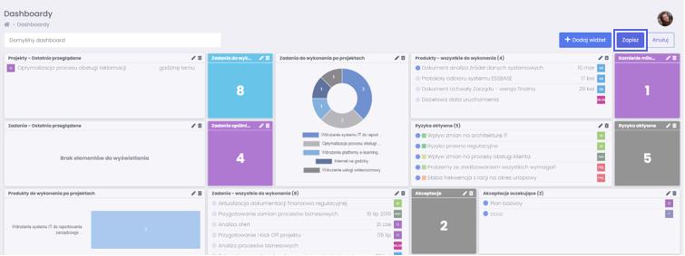 Zapisywanie widżetu - rzeczy i zadania do wykonania w widoku FlexiProject - blog o zarządzaniu projektami
