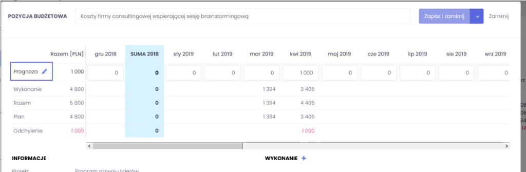 Zbiorcze dodawanie prognozy - zarządzanie budżetem projektowym we FlexiProject - blog o zarządzaniu