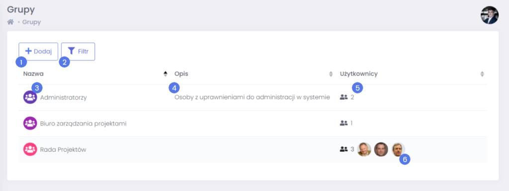 Administracja grup użytkowników programu FlexiProject