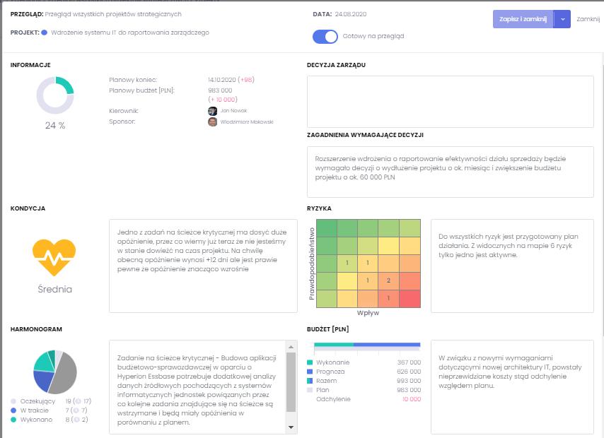 Informacje dotyczące statusu projektu w systemie FlexiProject