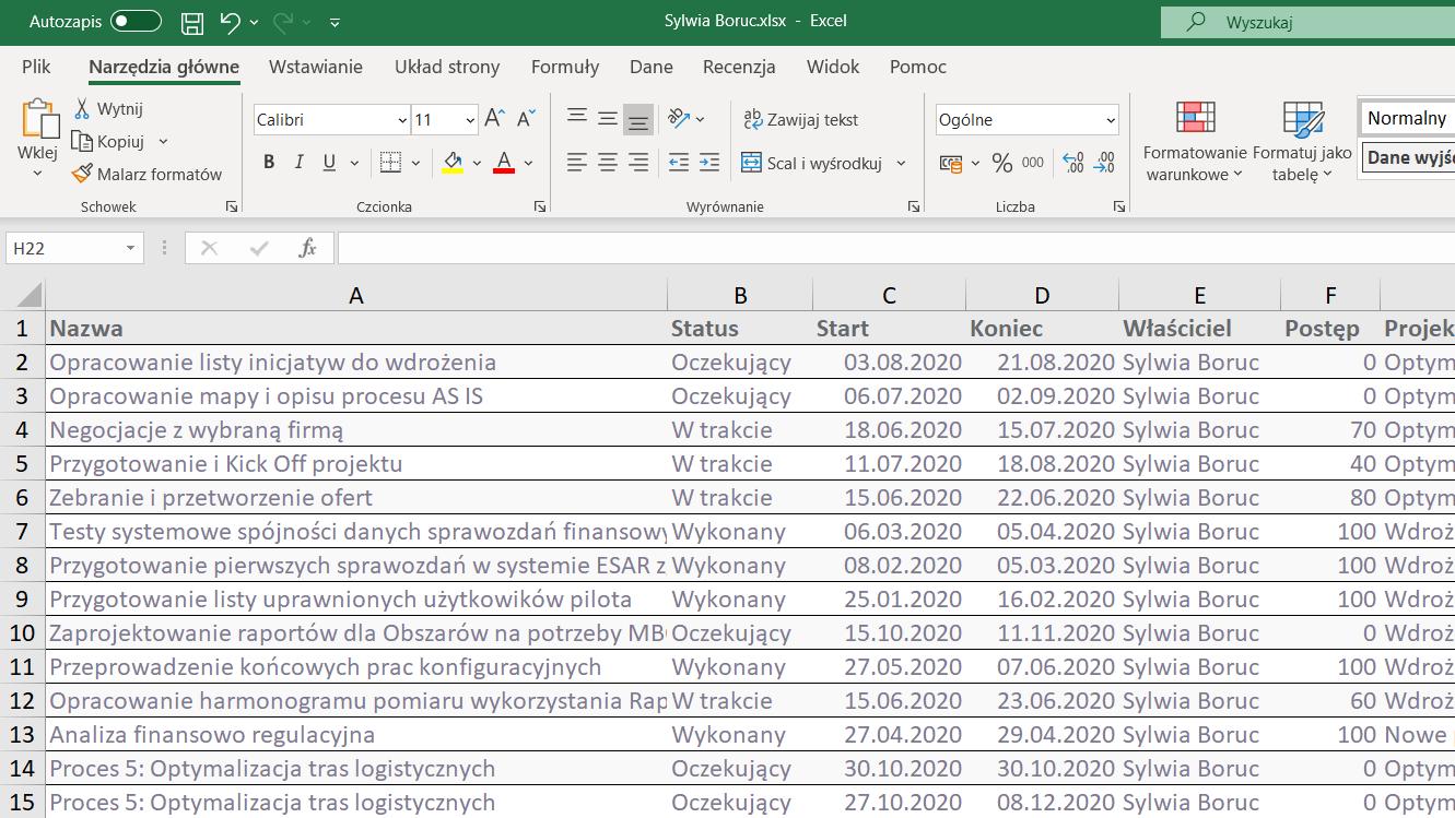 Eksportowanie raportu do Excela FlexiProject