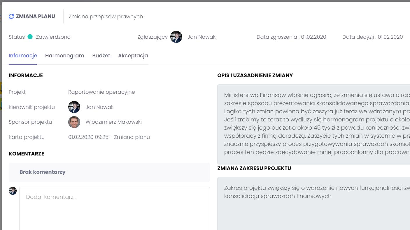 Historia zmian oraz decyzji FlexiProject