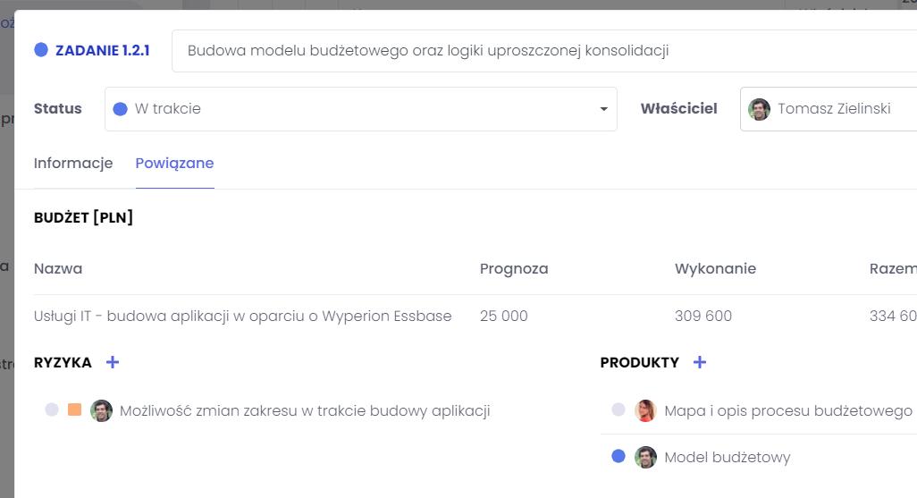 Łączenie produktów z elementami harmonogramu FlexiProject