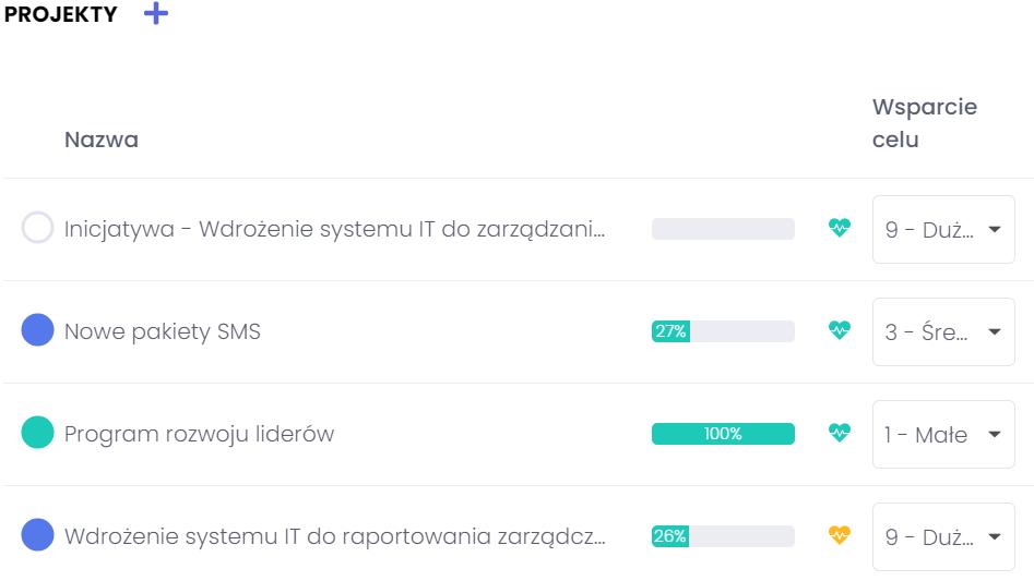 Łączenie projektu z celami i określanie stopnia ich wsparcia FlexiProject