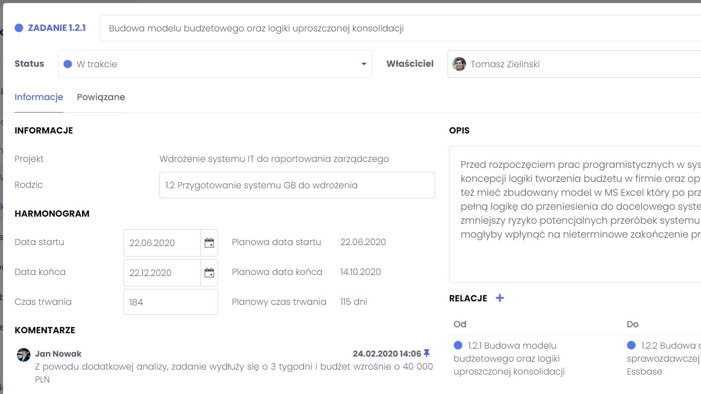 Oddelegowywanie zadań projektu FlexiProject