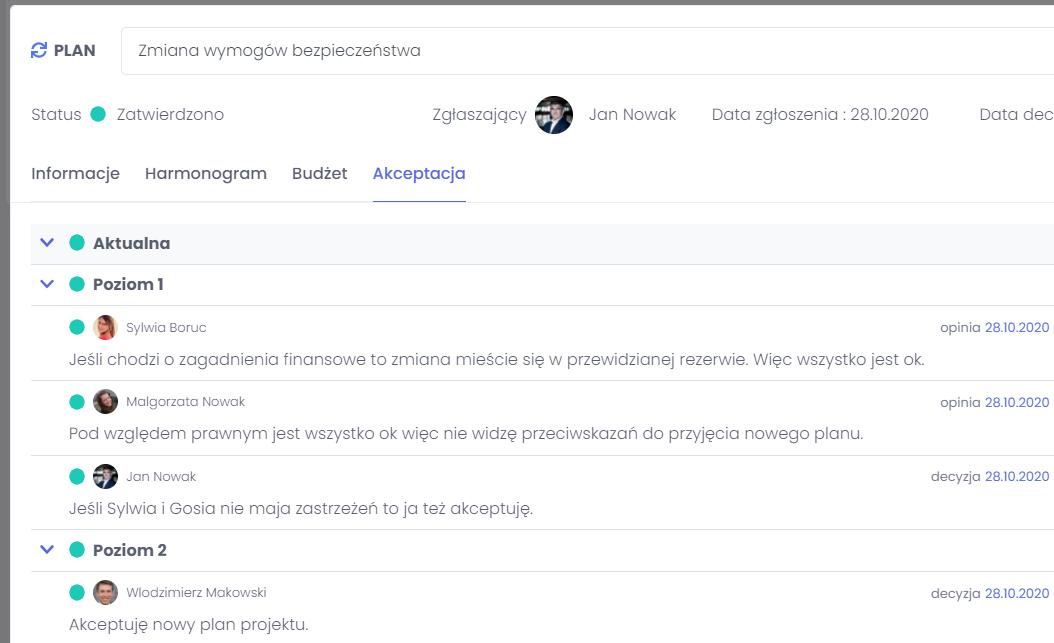 Przechowywanie historii decyzji FlexiProject