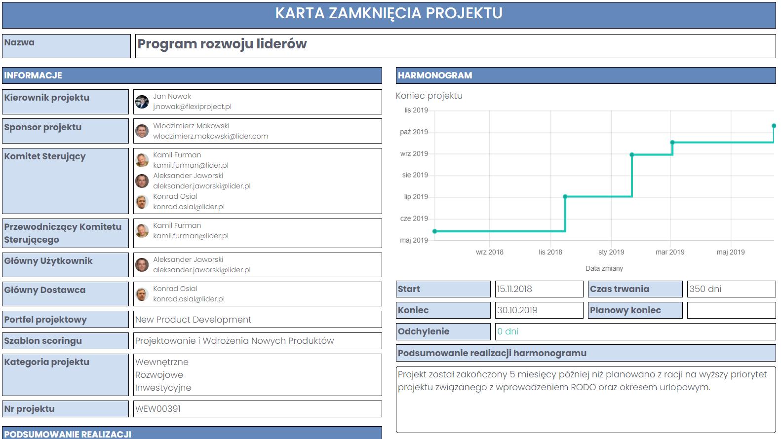 Spisywanie wniosków z projektów na karcie zamknięcia FlexiProject