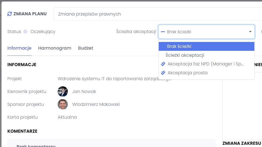 Wybieranie ścieżek akceptacji FlexiProject
