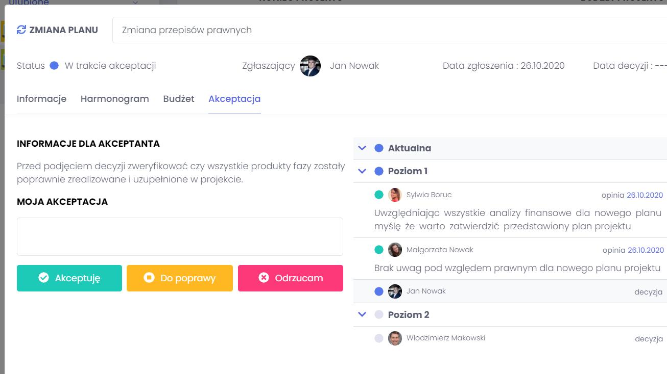 Wybór ścieżki akceptacji zmian FlexiProject