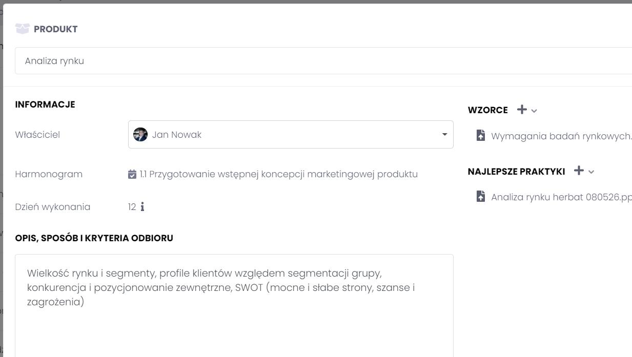 Wyznaczanie efektów tworząc listę produktów projektowych FlexiProject
